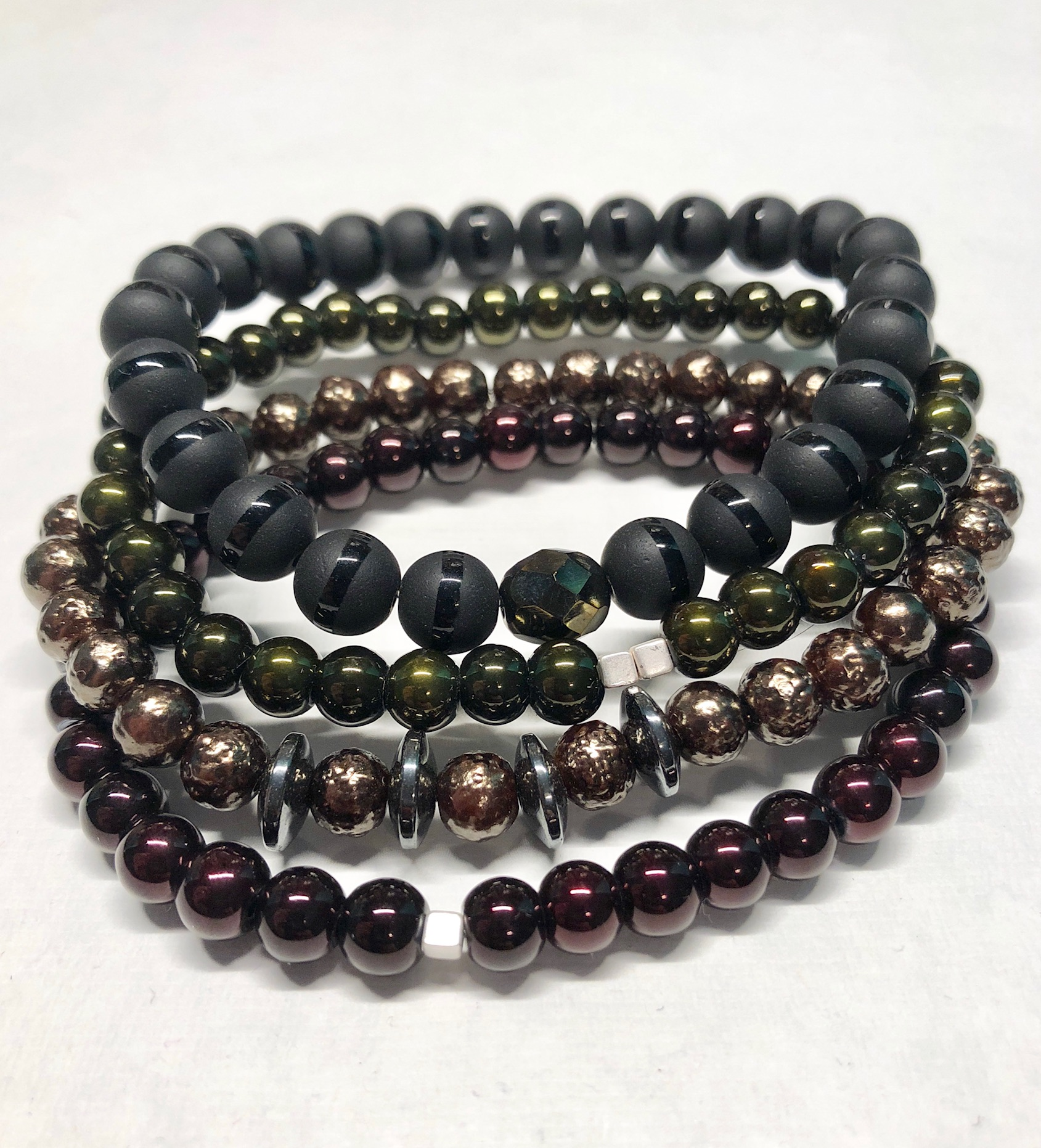 Men S Beaded Bracelet Stack